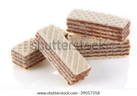Wafer cookies with cream isolated on white - stock photo