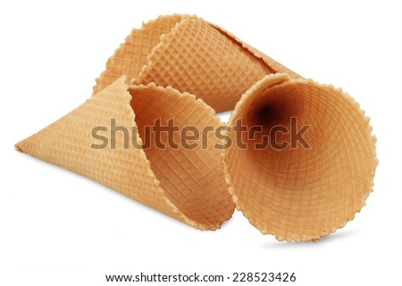 Wafer cup for ice-cream  - stock photo