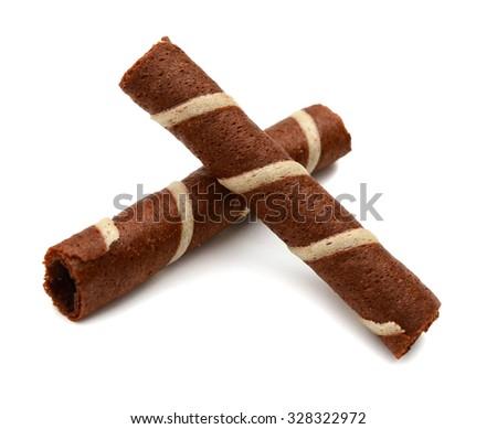 wafer stick on white background  - stock photo