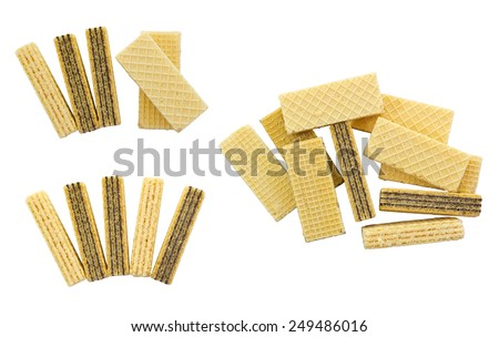 Wafers isolated on white background and clipping path - stock photo