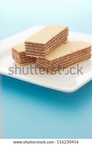 Wafers on the white plate - stock photo