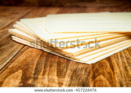 Wafers on wooden table