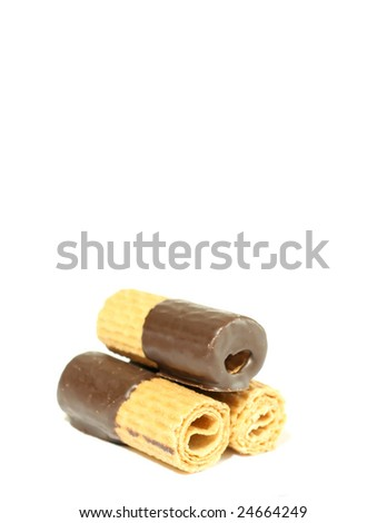 Wafers with chocolate, isolated on white background