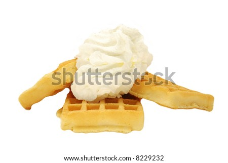 Waffle and whipped cream, best breakfast