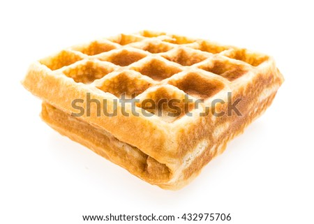 Waffle bakery for breakfast isolated on white background