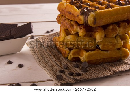 Waffle. Belgium waffles with chocolate - stock photo