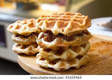 Waffles- Florence Italy - stock photo