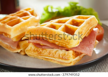 waffles ham cheese sandwich  - stock photo