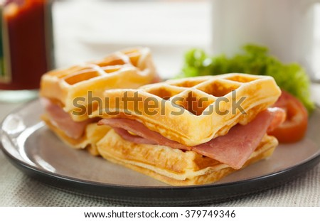 waffles ham cheese sandwich in plate