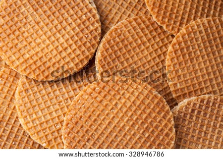 Waffles with caramel background. Top view - stock photo