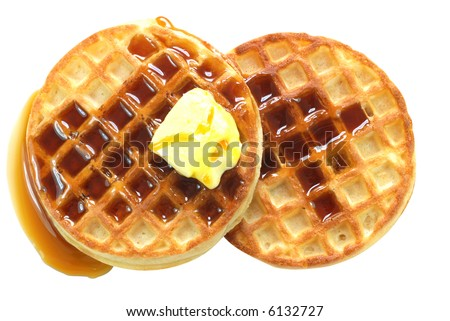 Waffles with syrup isolated on white background with clipping path. - stock photo
