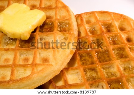Waffles with syrup ready to eat - stock photo