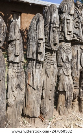 Waga - carved wooden grave markers sometimes misleadingly referred as totems . Arfaide (near Karat Konso). Ethiopia. - stock photo