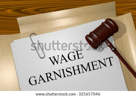 WAGE GARNISHMENT Title On Legal Documents - stock photo