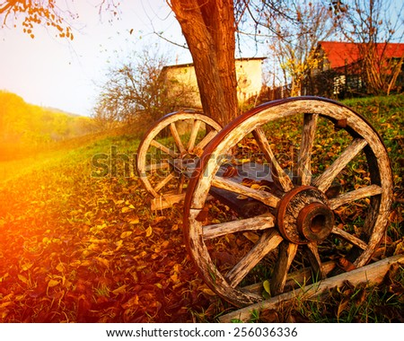 wagon wheel in the countryside