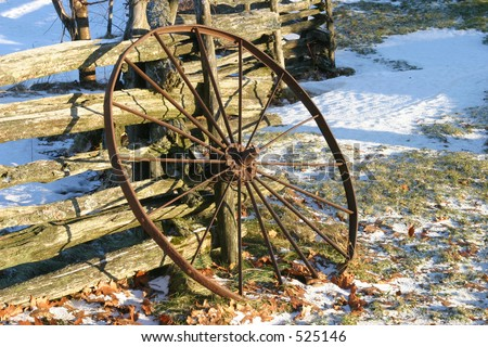 Wagon Wheel Leaning on Wood Rail Fence