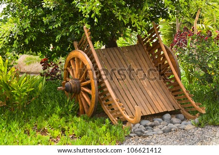 Wagon with spoked wheels - stock photo