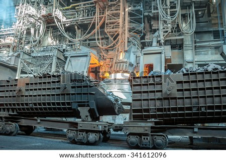 wagons with metal scrap at steel plant