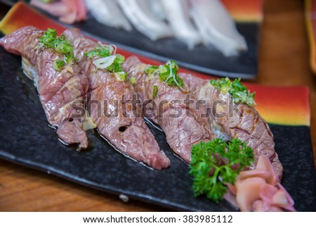 Wagyu beef sushi set , Japanese style food