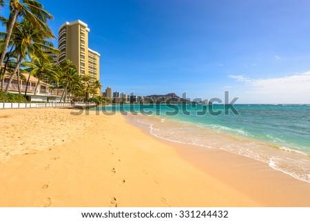Waikiki Beach in Honolulu, Hawaii - stock photo