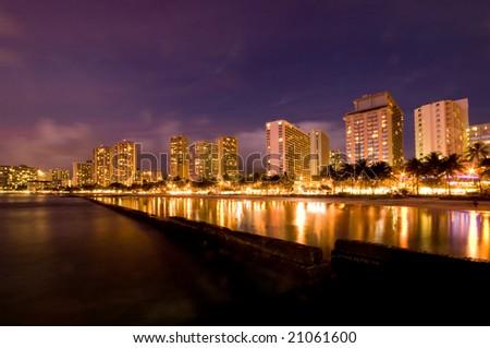 Waikiki Beach night scene - stock photo