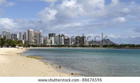 Waikiki beach, Oahu - stock photo