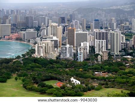 Waikiki Hawaii from above - stock photo