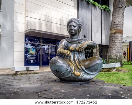 WAIKIKI, HI - APRIL 29:  Beautiful statue outside the Tiffany & Co. on April 29, 2014 on Kalakaua Ave in Waikiki, Hawaii. Kalakaua Ave is the favorite luxury shopping strip for tourists in Hawaii.  - stock photo