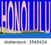 Waikiki Skyline and Diamond Head oahu Hawaii against Honolulu text illustration JPG - stock photo