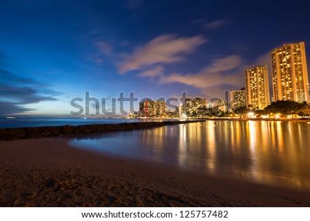 Waikiki sunset, Hawaii - stock photo