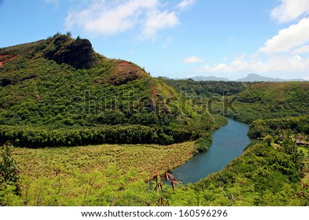 Wailua River Mountain Landscape Kauai Hawaii Island - stock photo