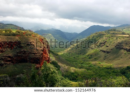 Waimea Canyon State Park West Kauai Hawaii - stock photo