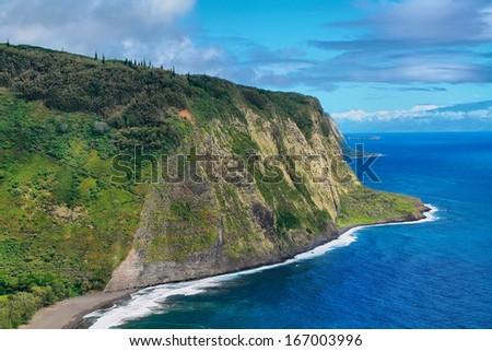 Waipio Valley view in Big island, Hawaii - stock photo