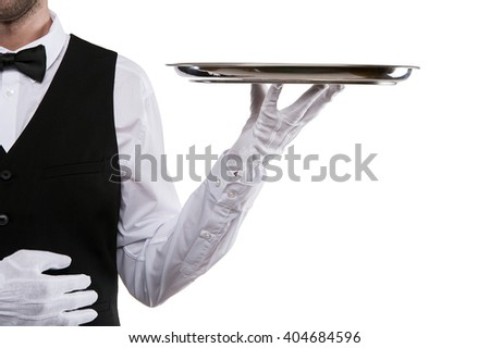 Waiter arm holding tray over white background.