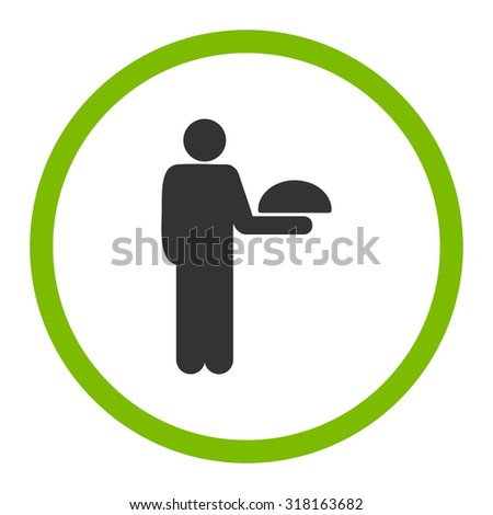 Waiter glyph icon. This rounded flat symbol is drawn with eco green and gray colors on a white background.