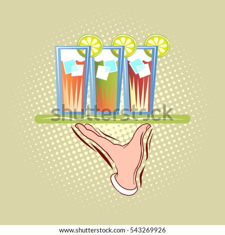 Waiter hand with three glasses on tray. Foods service pop art retro illustration.