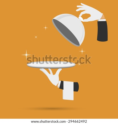 Waiter hands with cloche lid cover and towel illustration. - stock photo