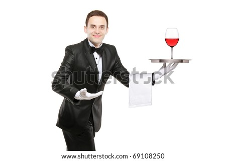 Waiter holding a silver tray with a glass of wine on it isolated on white background