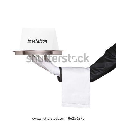 Waiter holding a tray with an invitation isolated on white background