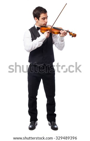 waiter holding a violin on white