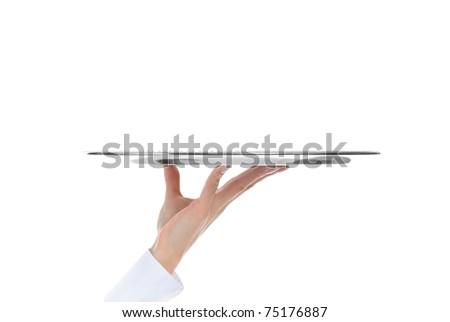 Waiter holding empty silver tray. Isolated on white background - stock photo