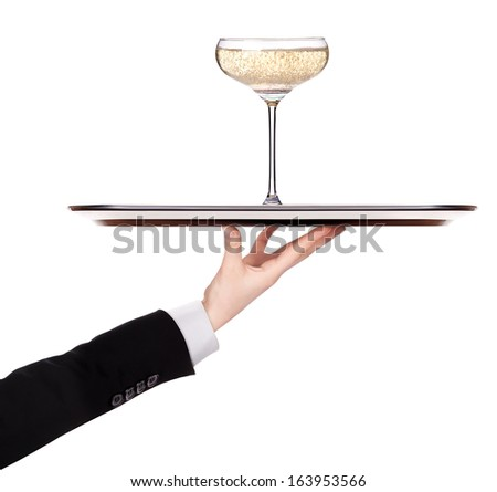 waiter holding  silver tray with champagne isolated on a white background - stock photo