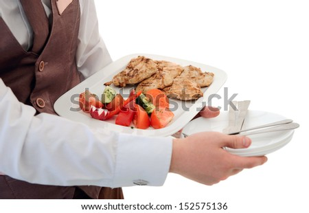 Waiter is offering grilled meat and vegetables, isolated on white - stock photo