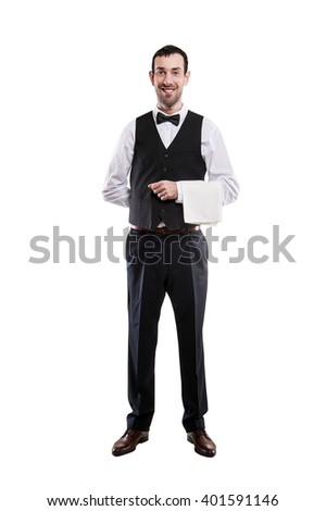 Waiter isolated over white background, full body apron.