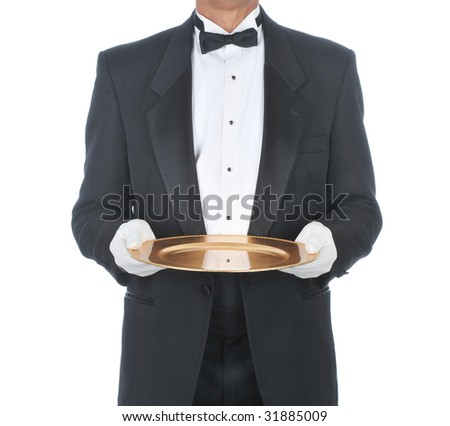 Waiter or butler Wearing Tuxedo Holding Tray with White Gloved Hands on an isolated white background - stock photo