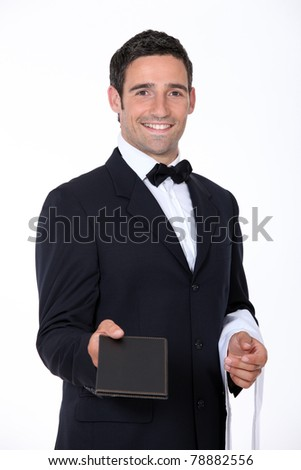 Waiter with a menu - stock photo