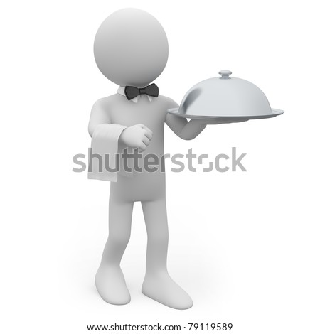 Waiter with a silver tray in hand - stock photo