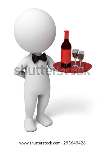 Waiter with a tray with a bottle of wine. 3d image. Isolated white background - stock photo