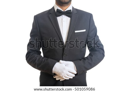 Waiter with bow tie standing
