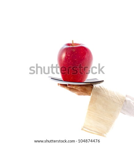 waiter with dish and apple, concept of healthy, balanced diet